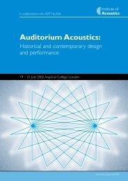 Auditorium Acoustics:
