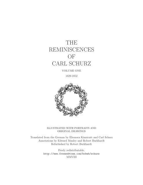 The Reminiscences Of Carl Schurz Volume One Trip Net