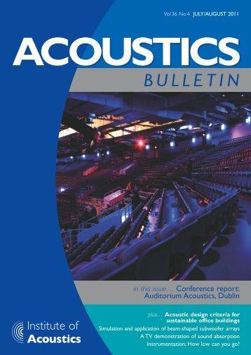 Acoustics Bulletin Jul-Aug 2011 - Institute of Acoustics