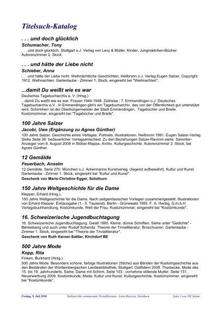 Titelsuch Katalog Kabinett Fur Sentimentale Trivialliteratur