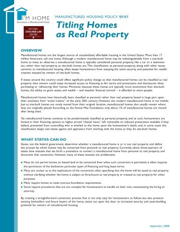 Titling Homes as Real Property - National Consumer Law Center