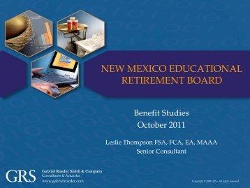 NMERB Benefit Studies October 2011 - Educational Retirement Board