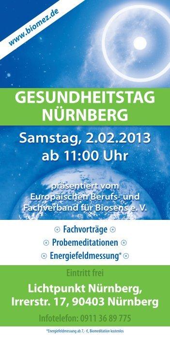 GESUNDHEITSTAG NÜRNBERG - Europäischer Berufs
