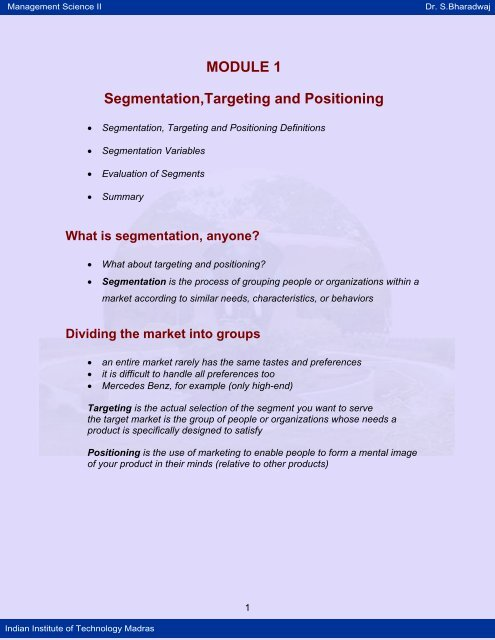 Segmentation,Targeting and Positioning - NPTel - Indian Institute of
