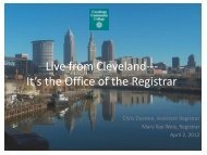 Live from Cleveland--- It's the Office of the Registrar - AACRAO