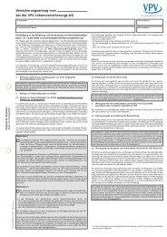 Versicherungsantrag vom bei der VPV Lebensversicherungs-AG