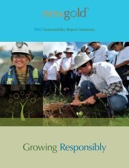 Sustainability Report 2.2 MB (PDF) - 2012 Annual Review - New Gold