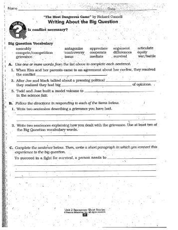 Worksheets The Most Dangerous Game Worksheets the most dangerous game poem worksheets p 27 30