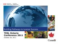 Building Pathways to Learner Success - TESL Ontario