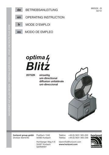 Betriebsanleitung 20752k - Horizont Klemmfix - horizont group gmbh