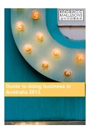 Guide to doing business in Australia 2013 - Mallesons