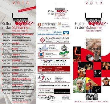 Flyer 2013 - Kultur in der Schranne