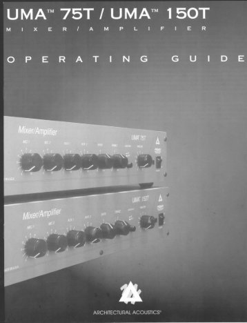 UMA 75T/150T Utility Mixer/Amplifier Operator's Manual - Peavey