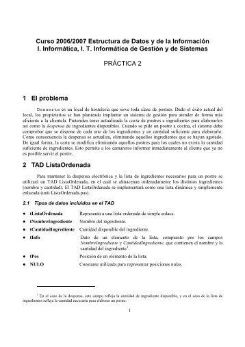 Curso 2006/2007 Estructura de Datos y de la ... - QueGrande