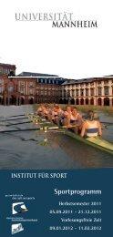 Sportprogramm - Universität Mannheim