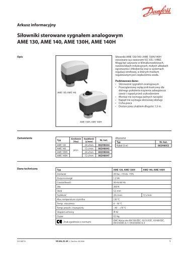 Siłowniki sterowane sygnałem analogowym AME 130 ... - Danfoss