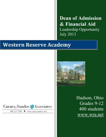 Dean of Admission & Financial Aid - Western Reserve Academy