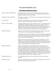 Rental Policies - Greystone Properties