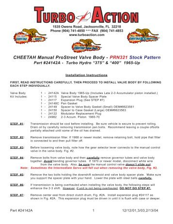 CHEETAH Manual ProStreet Valve Body - PRN321 ... - Turbo Action