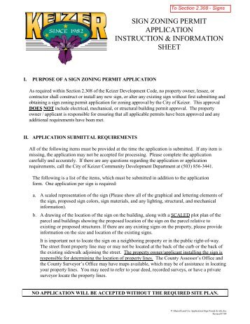 To Sign Zoning Permit Application - City of Keizer