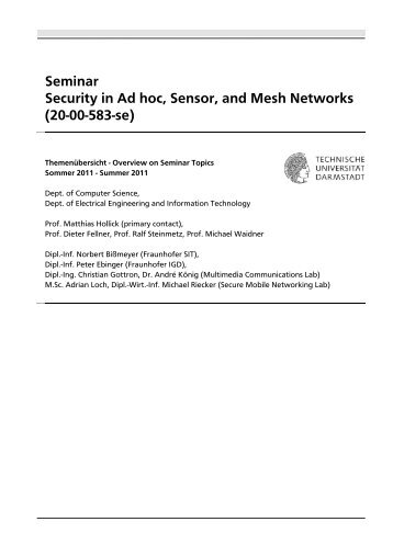 Seminar Security in Ad hoc, Sensor, and Mesh Networks (20-00-583 ...