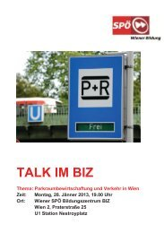 Einladung Talk im BIZ am 28. Jänner - SPÖ Wien
