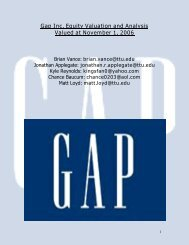 Gap Inc. Equity Valuation and Analysis Valued at November 1, 2006