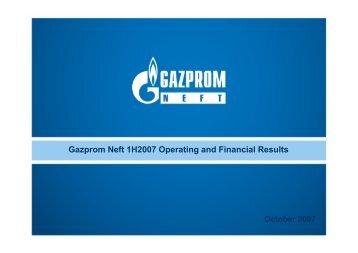 1H 2007 Gazprom Neft Results