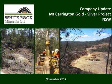 Investor Presentation November 2012 - White Rock Minerals