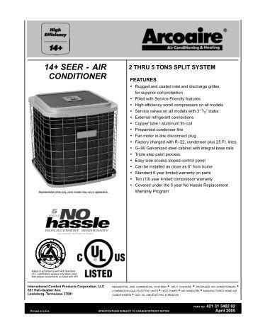 N4A4 14 Seer AC R-410A Technical Manual/Parts List
