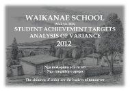 2012 with an Analysis of Variance - Waikanae School