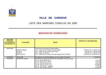 liste des marchés conclus en 2009 - Ville de Chenôve