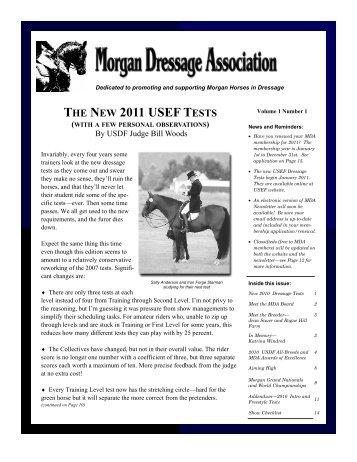 MDA Newsletter January 2011 V1#1 - Morgan Dressage Association