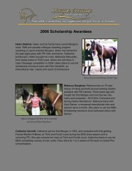 2006 Scholarship Awardees - Morgan Dressage Association
