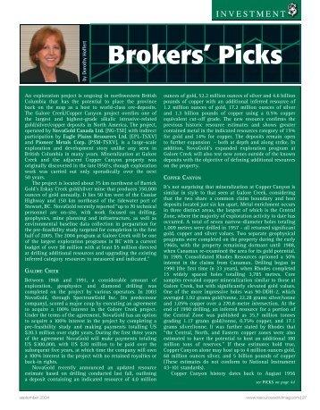Resource World Magazine, Brokers' Picks by Dorothy Hoffert