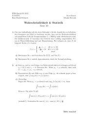 Wahrscheinlichkeit & Statistik Serie 10 - FIM - ETH Zürich