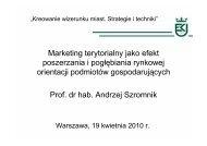 Marketing terytorialny jako efekt poszerzania i pogłębiania rynkowej ...