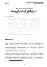 Lessons from the Kyoto Protocol: Implications for the Future - Cédric ...