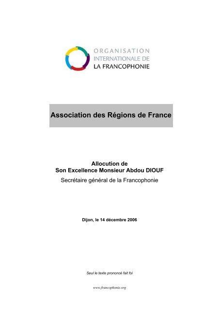 Association des Régions de France - Organisation internationale de ...