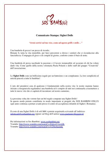 Comunicato Stampa: Sighet Dolls - SOS Bambini