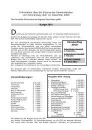Voranschlag 2010 Information über die Sitzung des Gemeinderates ...