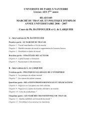 UNIVERSITE DE PARIS X NANTERRE Licence AES 3 ... - EconomiX