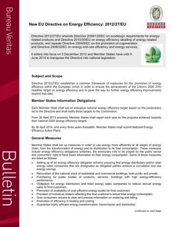 New EU Directive on Energy Efficiency: 2012/27/EU - Bureau Veritas