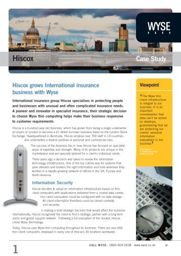 Hiscox grows International insurance business ... - Wyse Technology