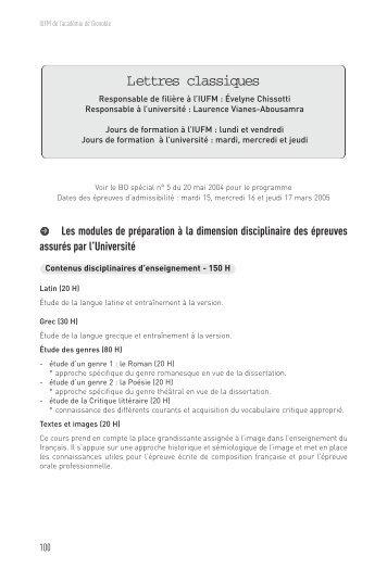 Lettres classiques - Site auxiliaire de l'IUFM de l'académie de ...