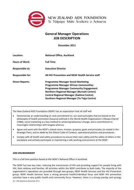 General Manager Operations JOB DESCRIPTION - New Zealand
