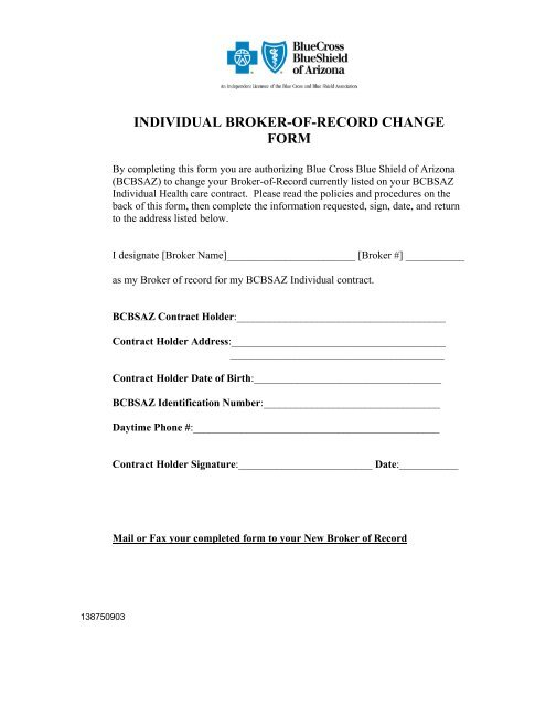 individual broker-of-record change form - Cornerstone