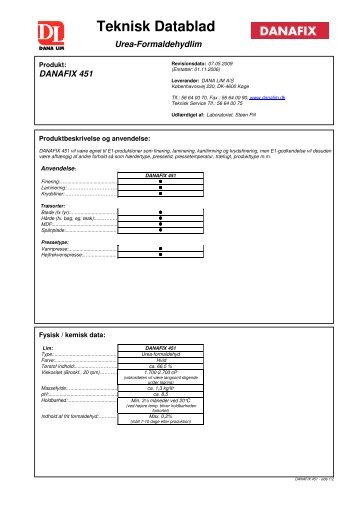 Teknisk Datablad - Dana Lim A/S