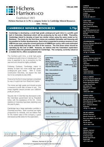 cambridge mineral resources 1.75p - Minesite