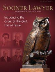 Sooner Lawyer Fall 2011/Winter 2012 - OU College of Law